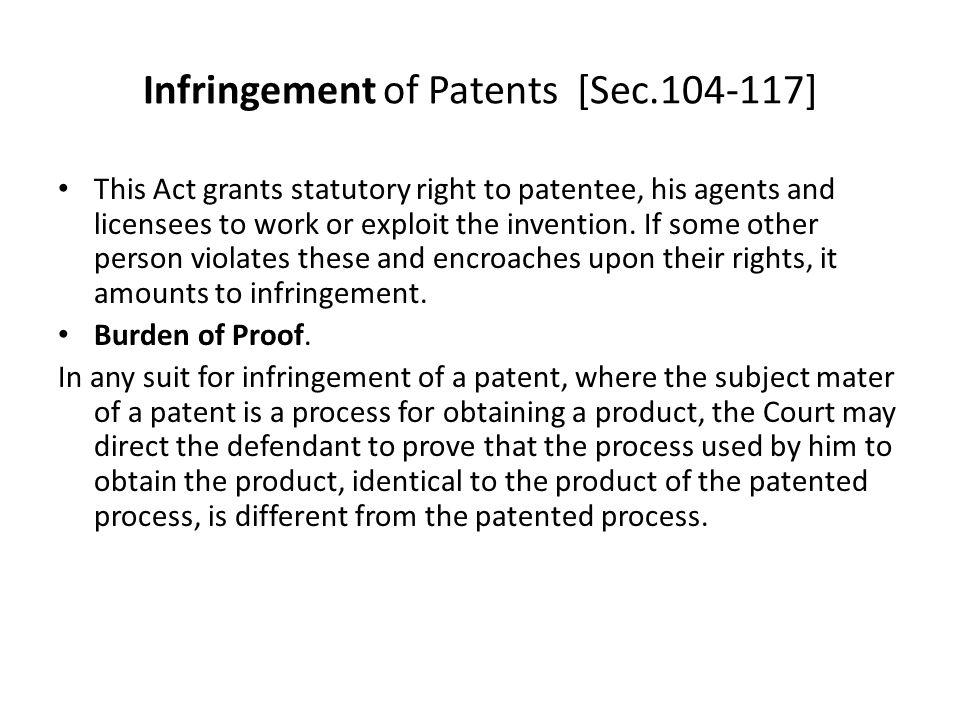 Infringement of Patents [Sec.104-117]